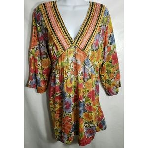 Johnny Was L Embroidered Boho Top Shirt Festival